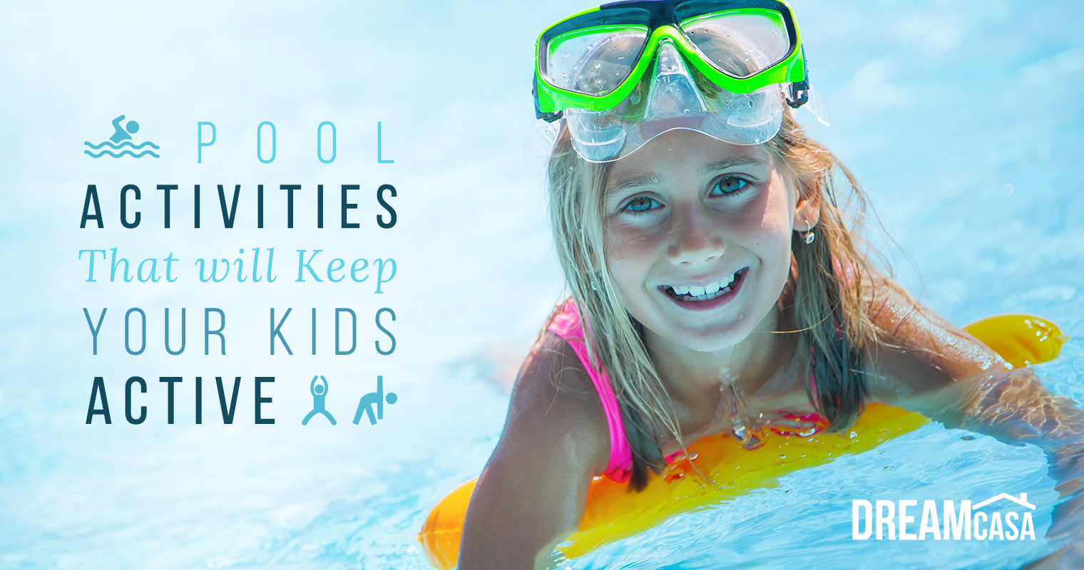 Girl in pool doing 10 activities to keep active