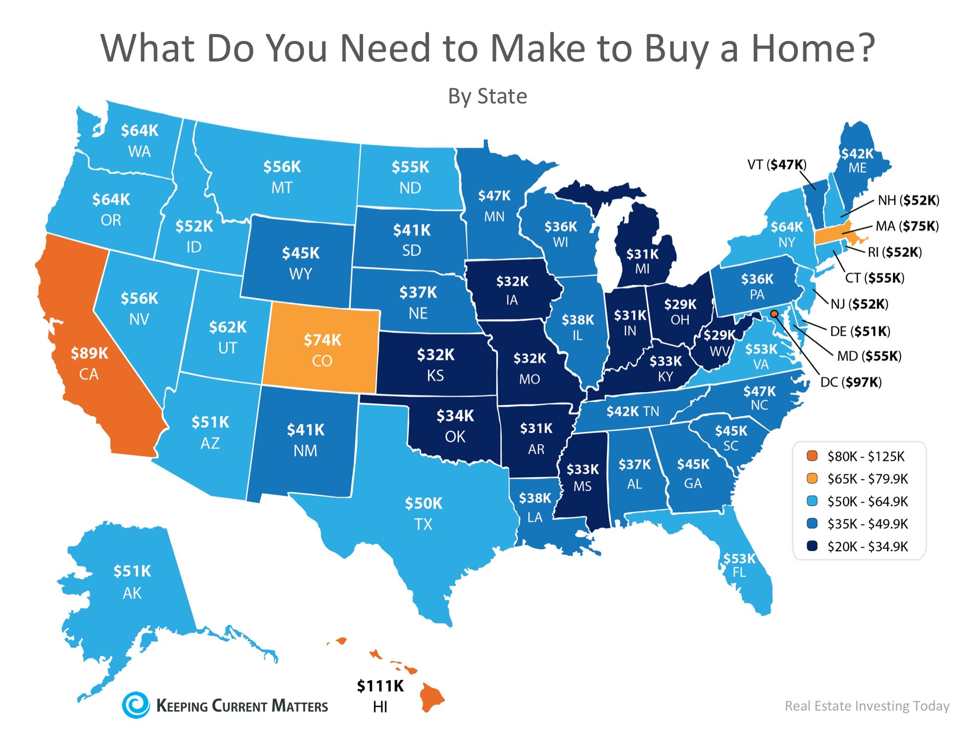 How Much Do You Need to Make to Buy a Home in Your State? | Keeping Current Matters