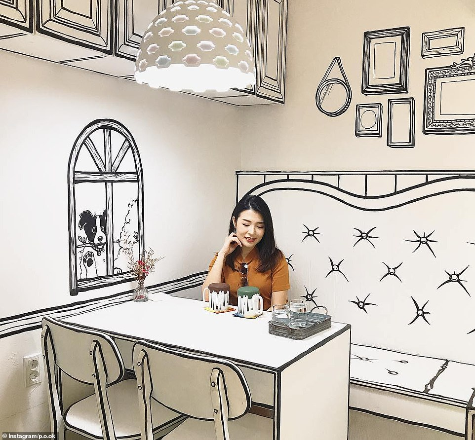 In the caption for this Instagram picture, 'p.o.ok' wrote about how the cafe felt like she was living in a '2D world'