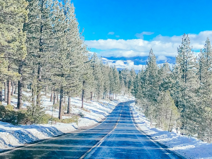 Snowy road on the way to Lake Tahoe, California