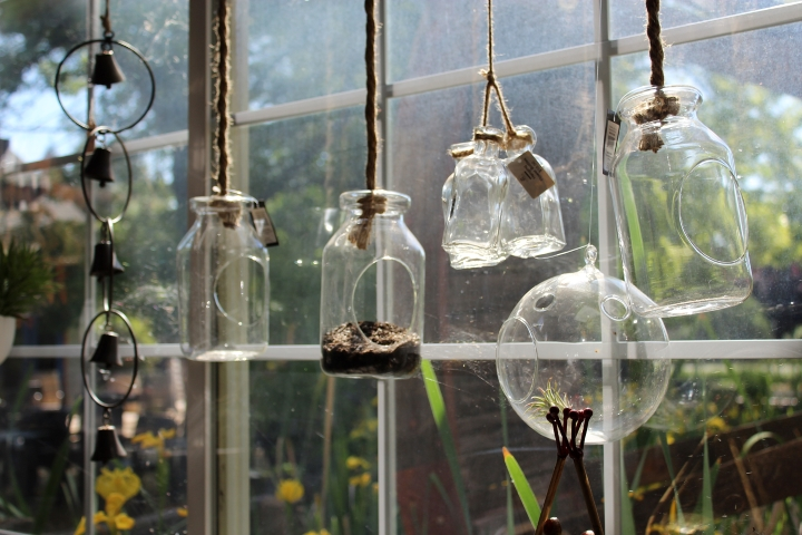 hanging glass decorations at flower farm loomis california