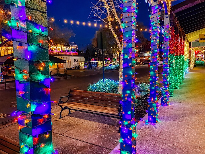 Poles lined with Christmas lights in Historic Folsom District