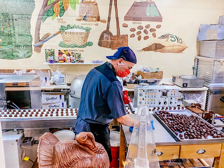 Making chocolate at snooks in historic Folsom, California