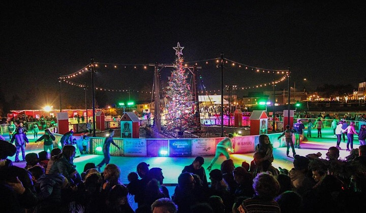 Folsom Historic District Ice Rink with christmas tree