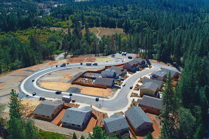 Aerial view of Berriman Ranch community in Grass Valley, CA