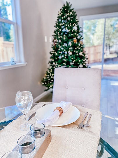 Dining room table and Christmas tree