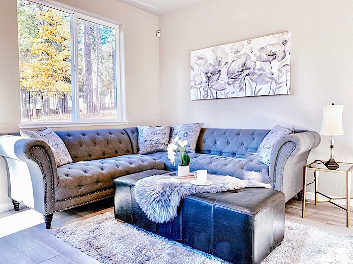 104 Berriman Loop living room with fancy blue couch and bright window with lots of trees