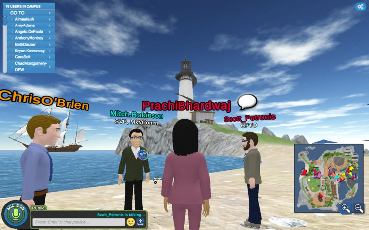 From the soccer field, the beach caught my eye, and we talked a little bit about the personalization opportunities a virtual campus allows you.