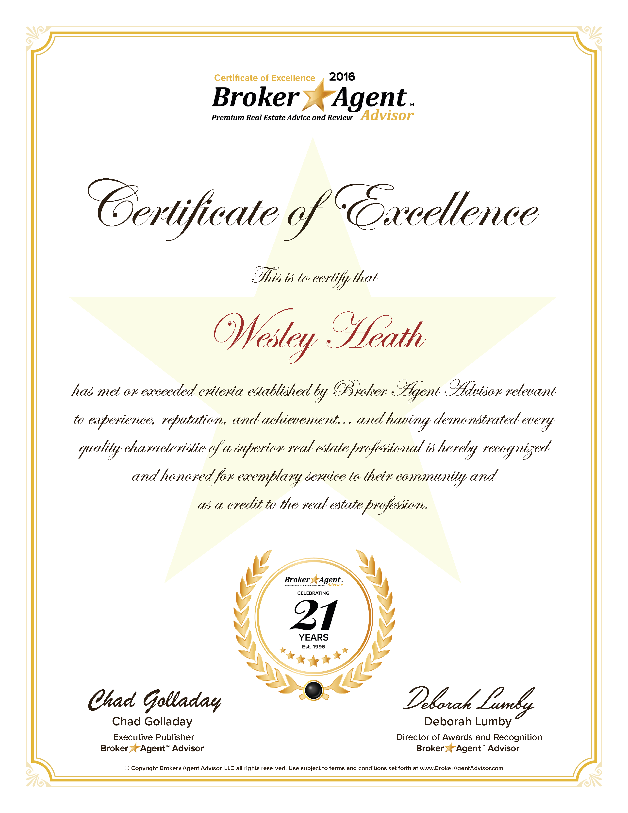 Wesley Heath Certificate of Excellence