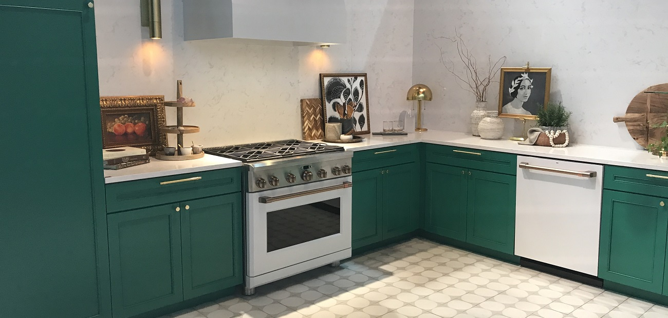 Kitchen with brass accents