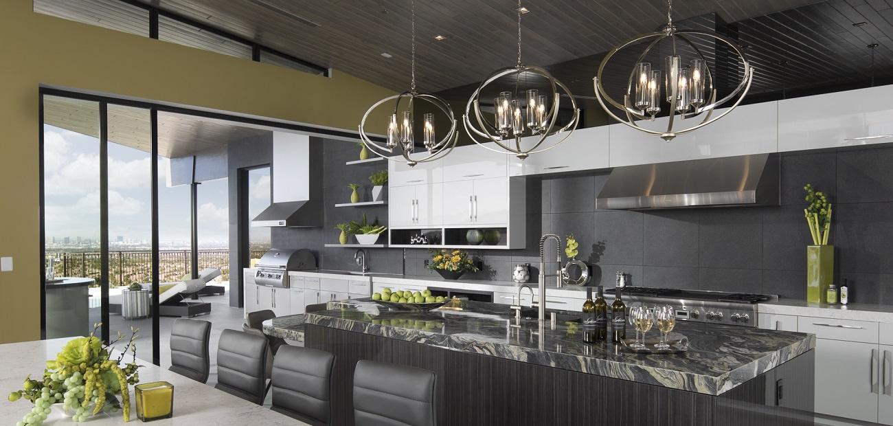 Kitchen with gemoetric lighting